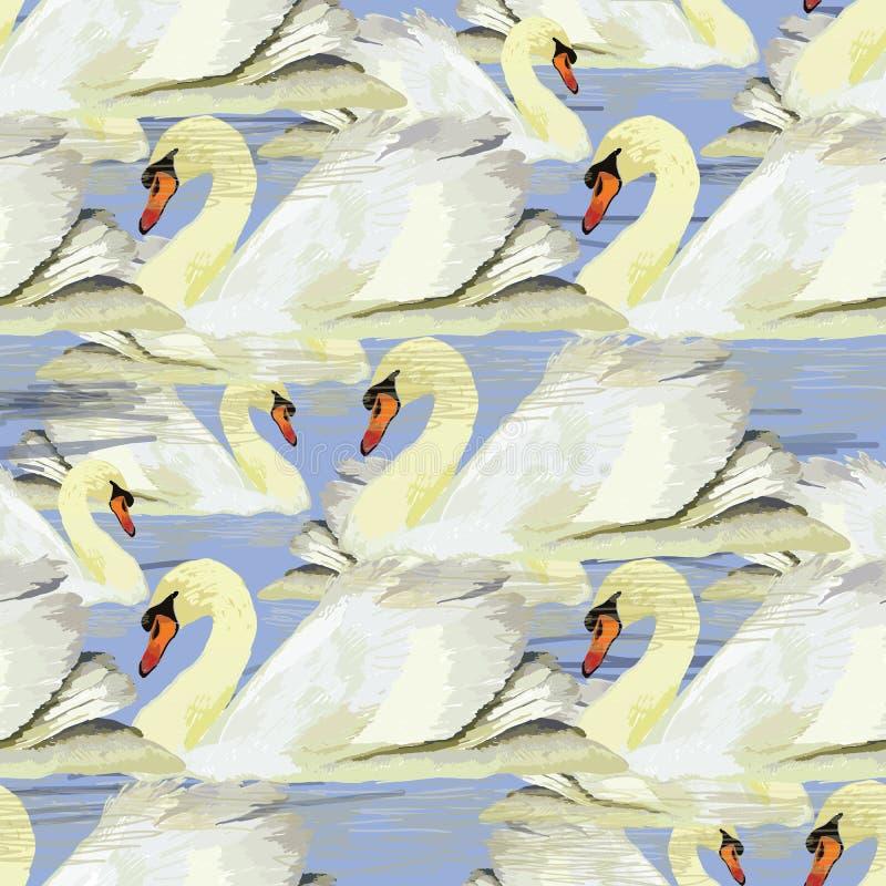Illustration av den sömlösa modellen med den vita svanen på blå backgro vektor illustrationer