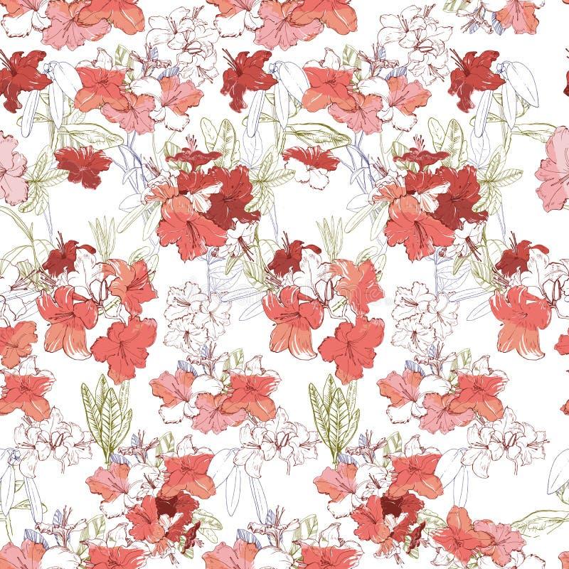 Illustration av den sömlösa modellen med filialrosa färgrhododendron Utdragna blommor för hand för textil och bakgrund inristat vektor illustrationer