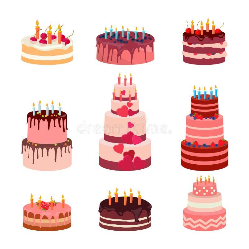 Illustration av den sötsak bakade isolerade kakauppsättningen Jordgubbeisläggningkaka för ferie, muffin, brun chokladgourmet royaltyfri illustrationer