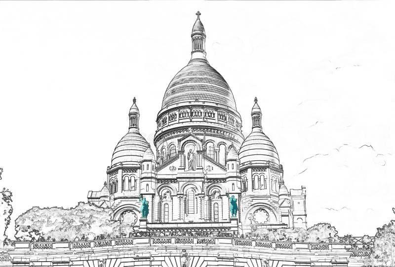 Illustration av den Sacre Coeur basilikan på den Montmartre kullen - Paris fotografering för bildbyråer