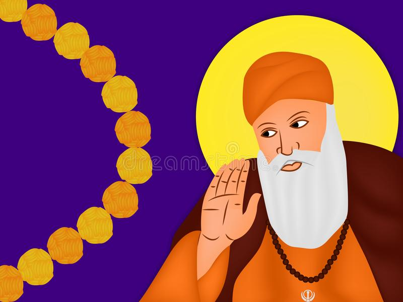 Illustration av den sikh- festivalen Guru Nanak Jayanti Background stock illustrationer