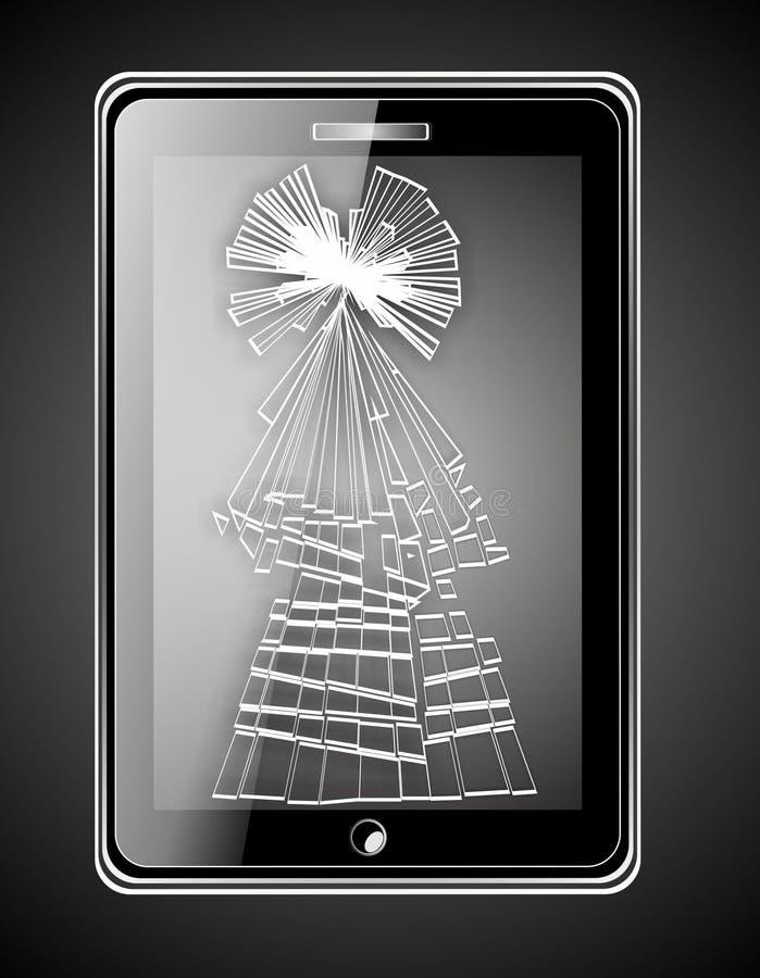 Illustration av den smarta telefonen med den skadade skärmen i form av julträdet royaltyfri foto