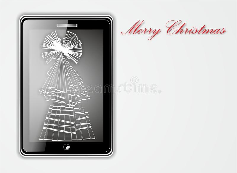 Illustration av den smarta telefonen med den skadade skärmen i form av julträdet arkivbilder