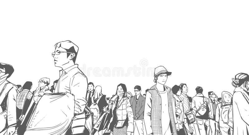 Illustration av den stads- folkmassan från sikt för låg vinkel med torn och höga löneförhöjningar i bakgrund i svartvit grå skala vektor illustrationer