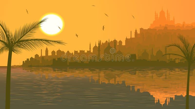 Illustration av den stora arabiska staden vid havet på solnedgången. royaltyfri illustrationer