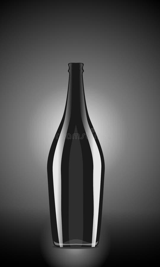 Illustration av den svarta vinflaskan på blachbakgrund arkivfoto
