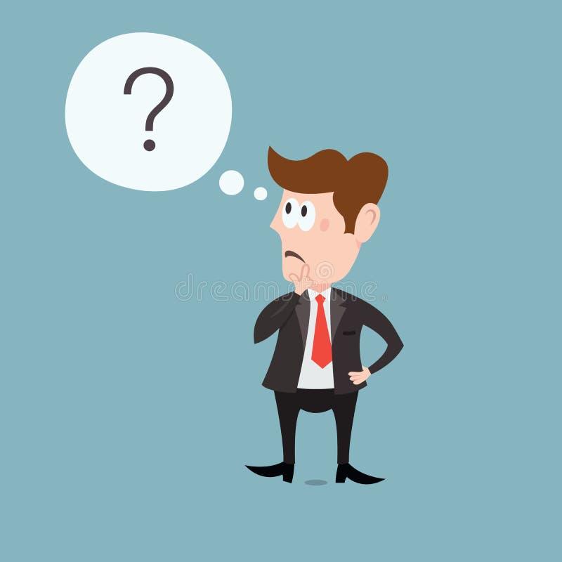 Illustration av den tänkande affärsmannen vektor illustrationer