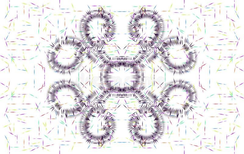 Illustration av den taggiga blom- designen för mång- färg stock illustrationer