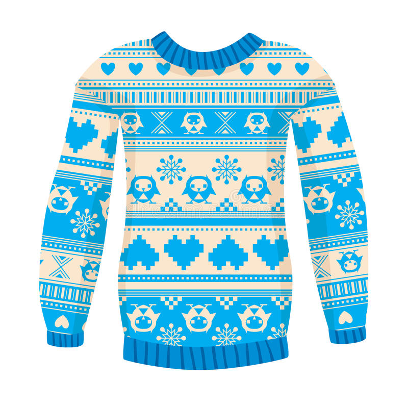 Illustration av den varma tröjan med ugglor och hjärtor. Blå version. stock illustrationer