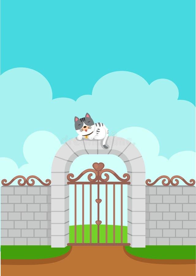 Illustration av den vita katten på väggbakgrunden royaltyfri illustrationer