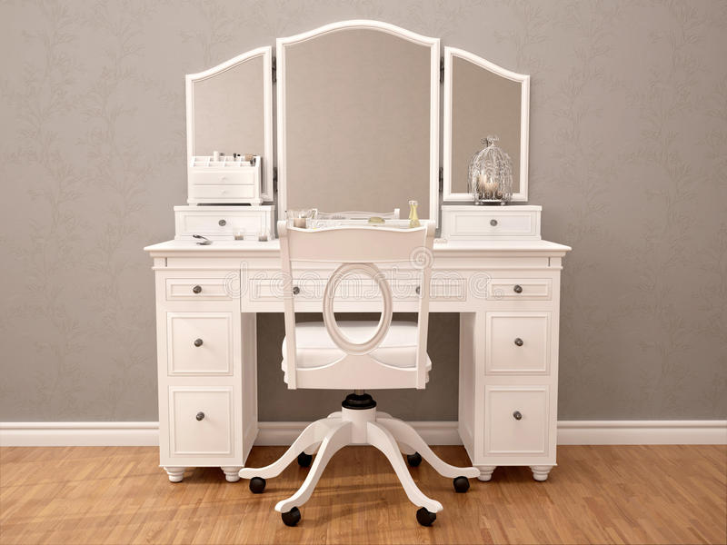 Illustration av den vita toilety tabellen med spegeln vektor illustrationer