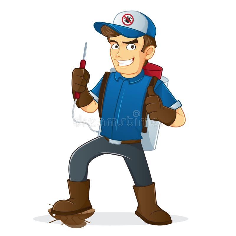 Illustration av desinfektören med hans hjälpmedel vektor illustrationer