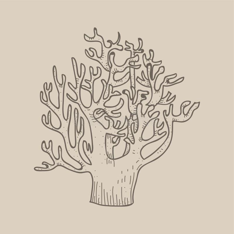 Illustration av det avlövade trädet på blek bakgrundsfärg royaltyfri illustrationer