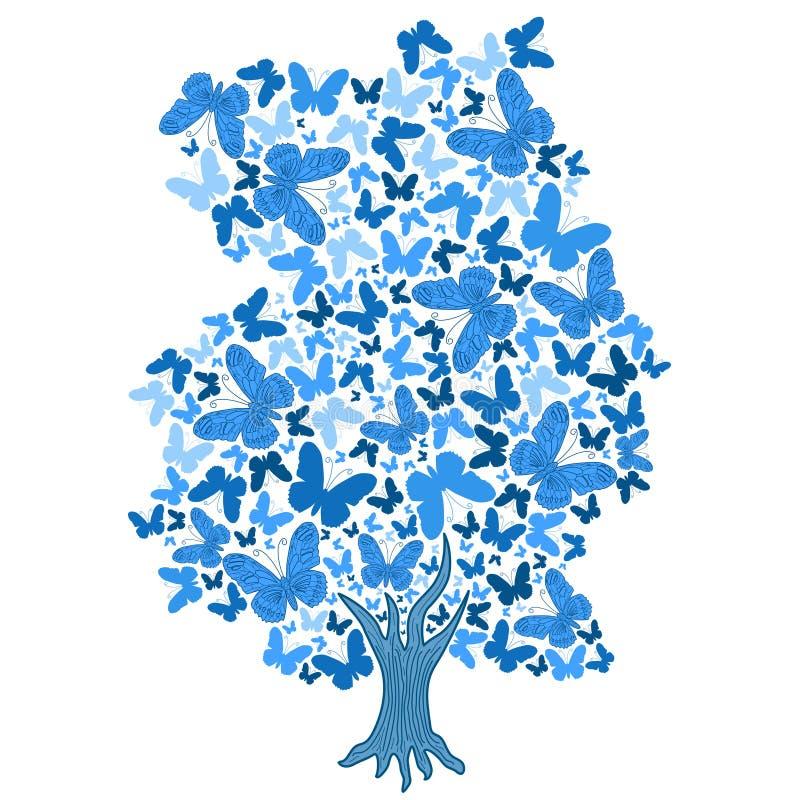 Illustration av det blåa trädet från fjärilar vektor illustrationer
