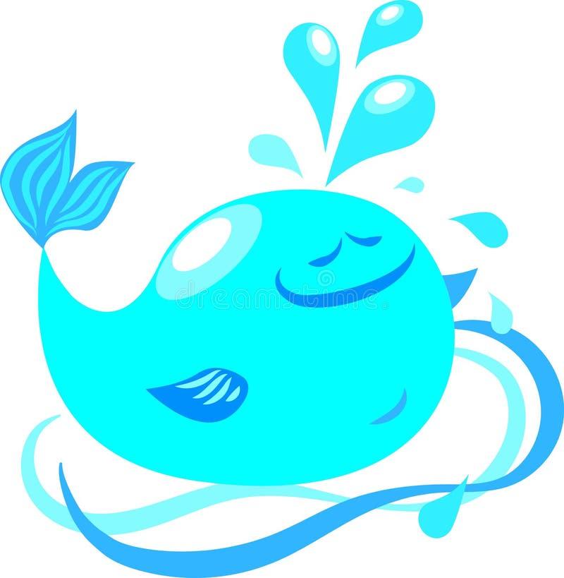 Illustration av det blåa valet för vektor, vågor, vattenfärgstänk, droppar, springbrunn, lycka stock illustrationer