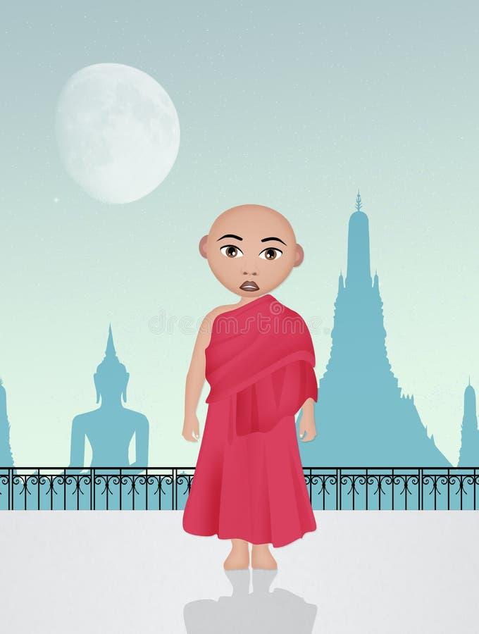 Illustration av det buddistiska barnet vektor illustrationer