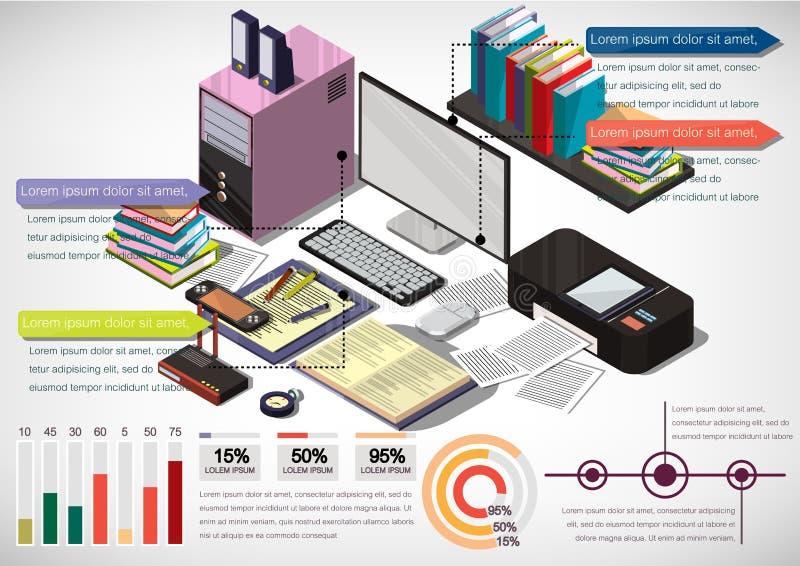 Illustration av det grafiska inre kontorsbegreppet för information royaltyfri illustrationer