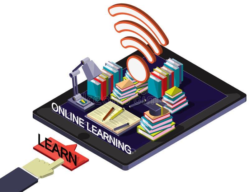 Illustration av det grafiska online-utbildningsbegreppet för information stock illustrationer