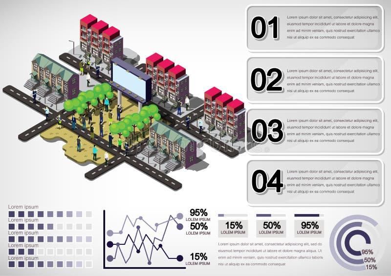 Illustration av det grafiska stads- stadsbegreppet för information stock illustrationer