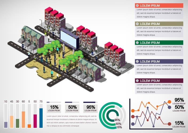 Illustration av det grafiska stads- stadsbegreppet för information royaltyfri illustrationer