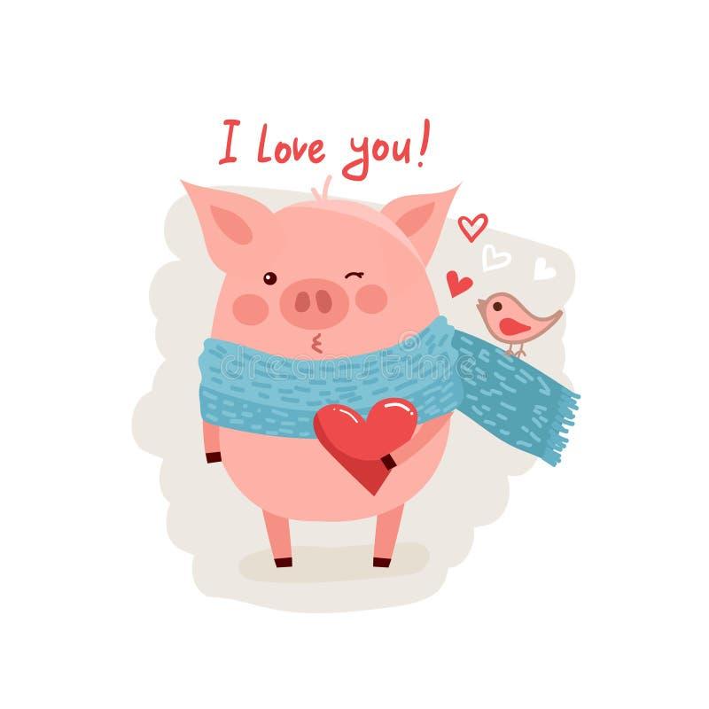 Illustration av det gulliga tecknad filmsvinet med rosa stor hjärta stock illustrationer