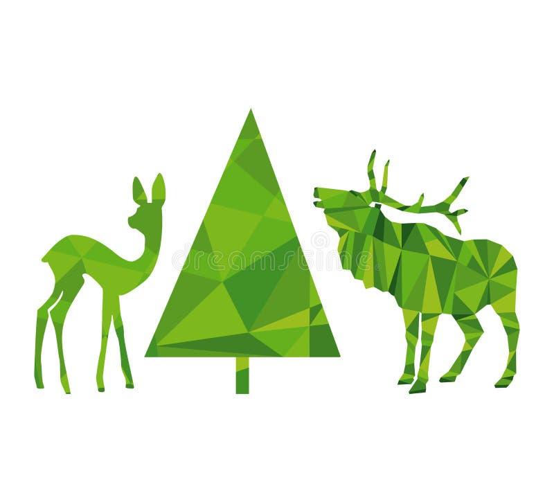 Illustration av det hjort-, doe- och granträdet royaltyfri illustrationer