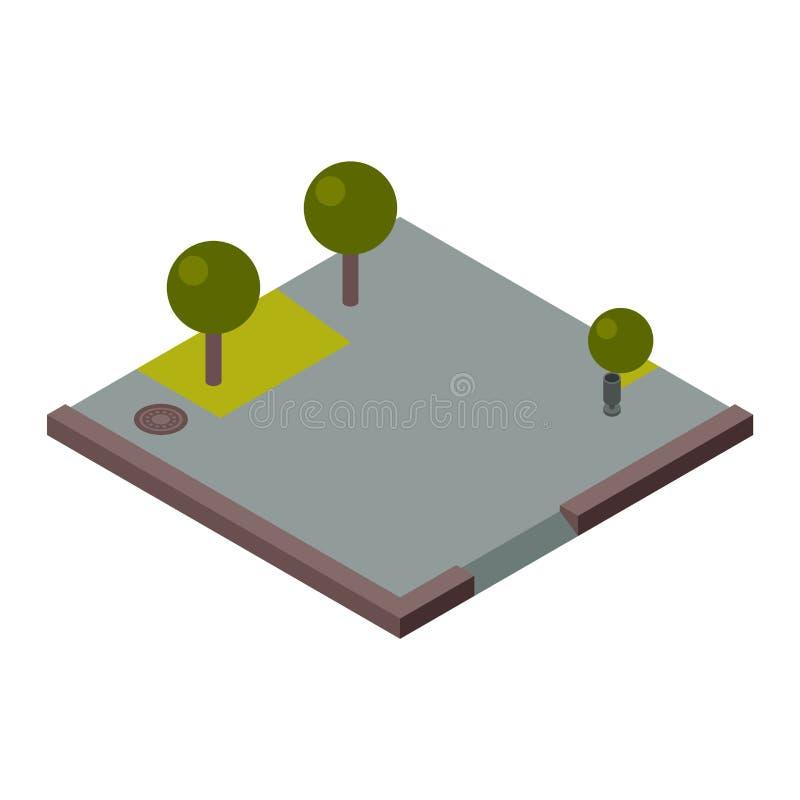 Illustration av det isometriska landavsnittet stock illustrationer