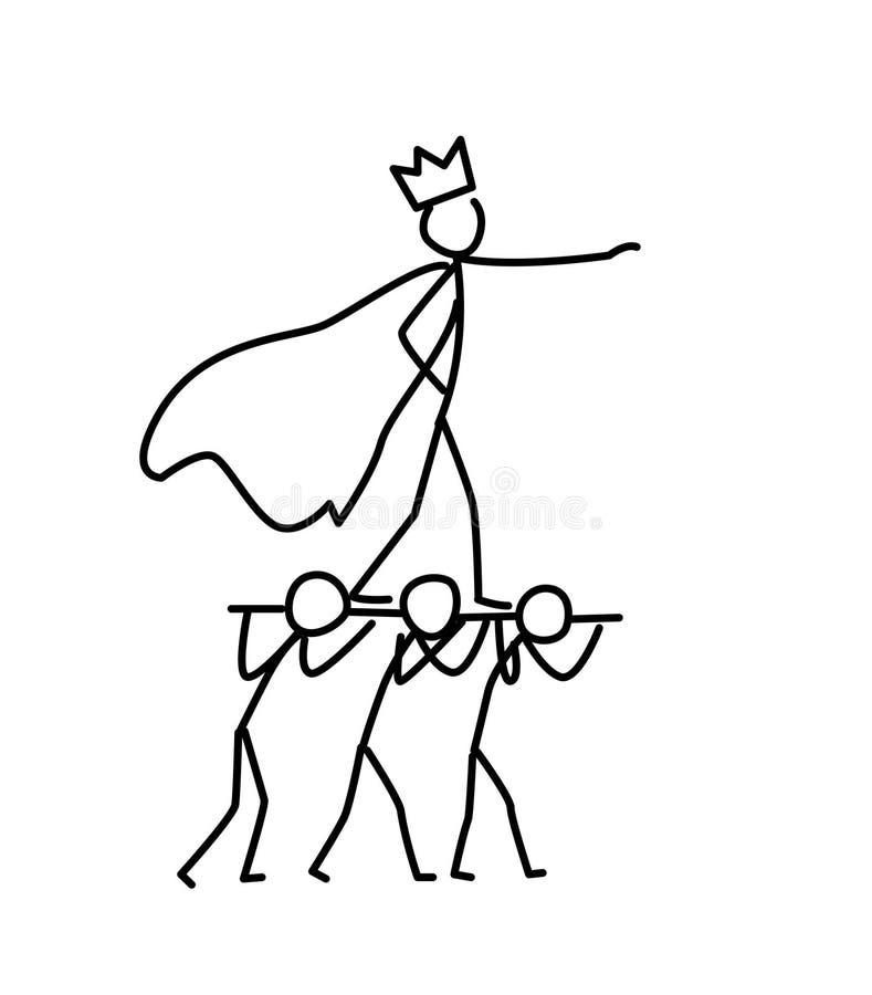 Illustration av det lilla män och framstickandet vektor Kock eller konung som omges av följet metafor linjär stil illustration fö stock illustrationer