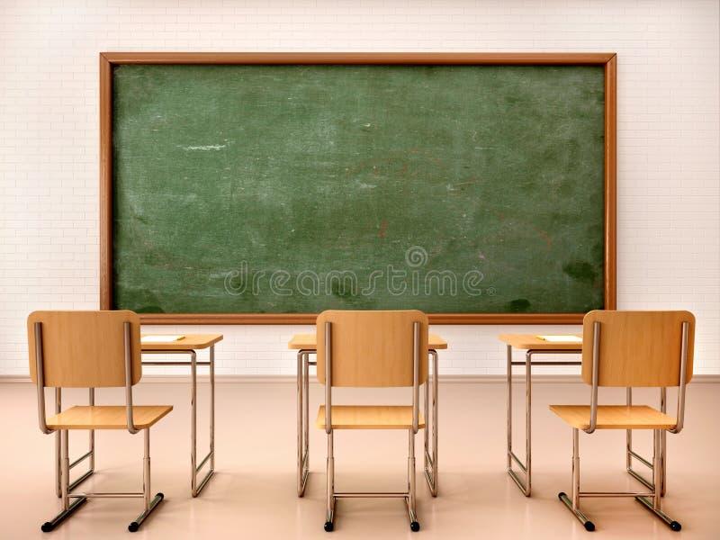 Illustration av det ljusa tomma klassrumet för kurser och traini royaltyfri illustrationer