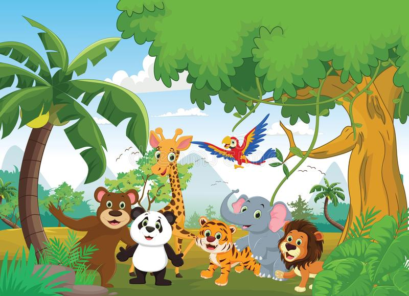 Illustration av det lyckliga djuret i djungeln stock illustrationer