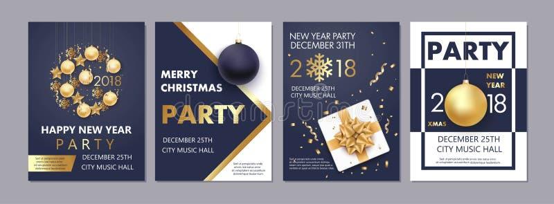 Illustration av det lyckliga nya året 2018 och jul stock illustrationer