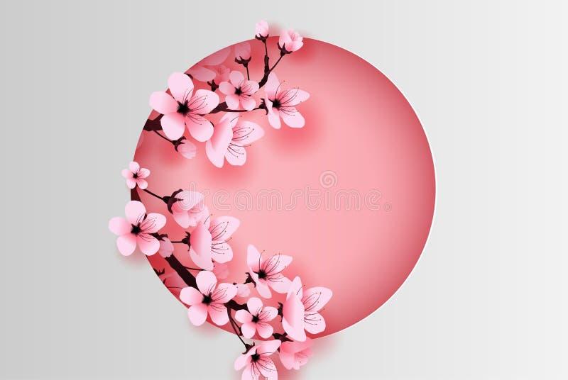 Illustration av det pappers- för vårsäsong för konsthantverk cirkel dekorerade begreppet för körsbärsröd blomning, vår med den sa royaltyfri illustrationer