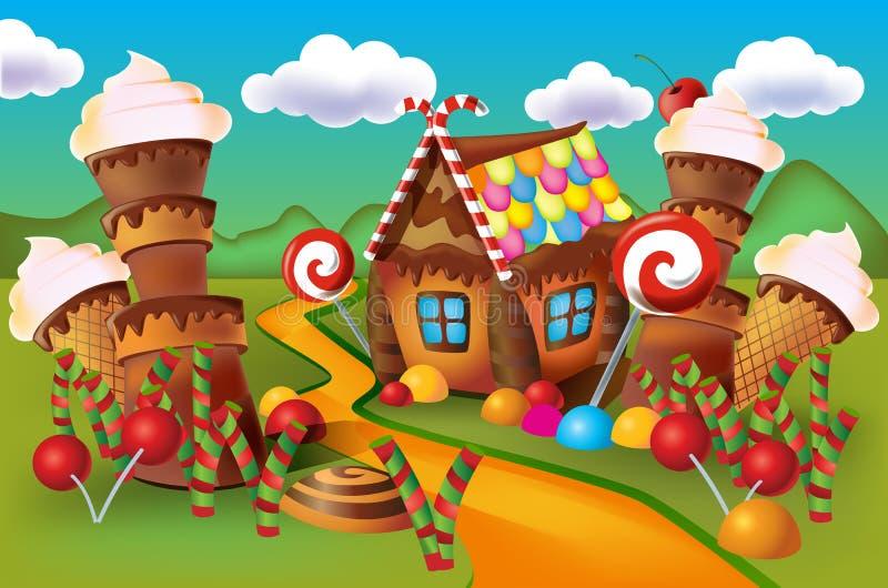 Illustration av det söta huset av kakor och godisen royaltyfri illustrationer