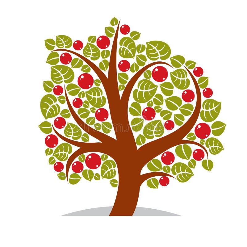 illustration av det stiliserade trädet på vit stock illustrationer