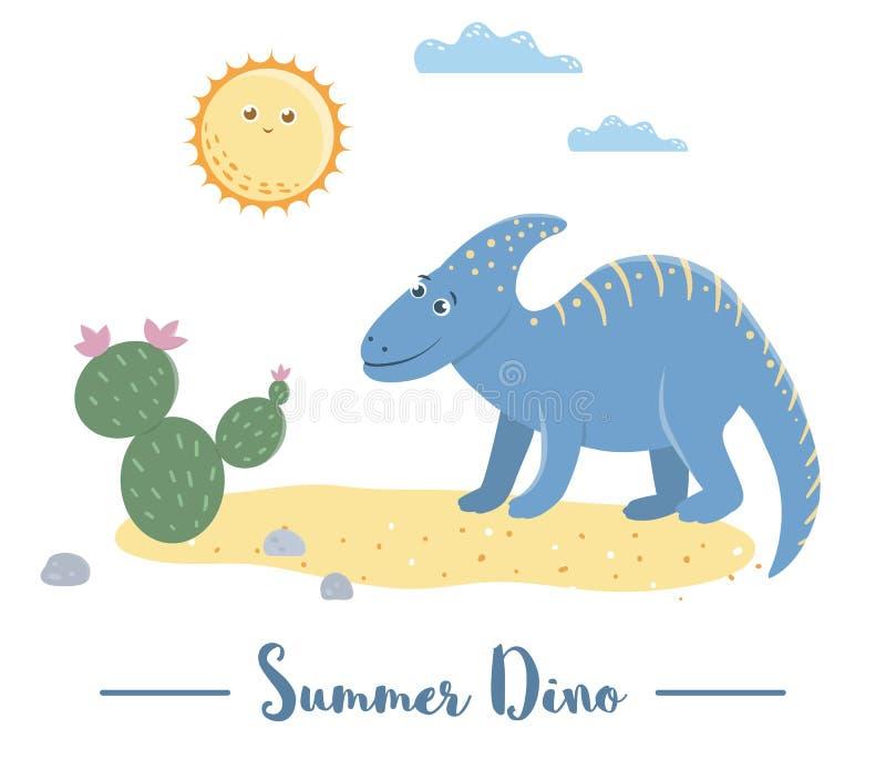Illustration av dino i en öken under solen med kaktuns Sommarplats med den gulliga dinosaurien Roliga förhistoriska reptilar skri vektor illustrationer