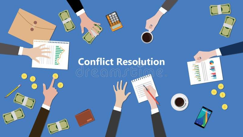 Illustration av diskussionen om konfliktupplösning i ett lagarbete med skrivbordsarbeten överst av tabellen stock illustrationer