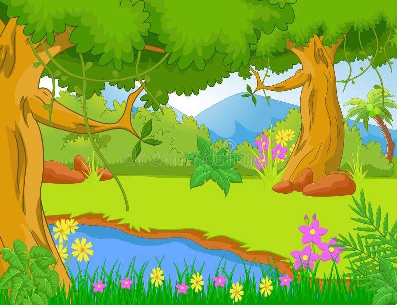 Illustration av djungeln med träd och växter stock illustrationer