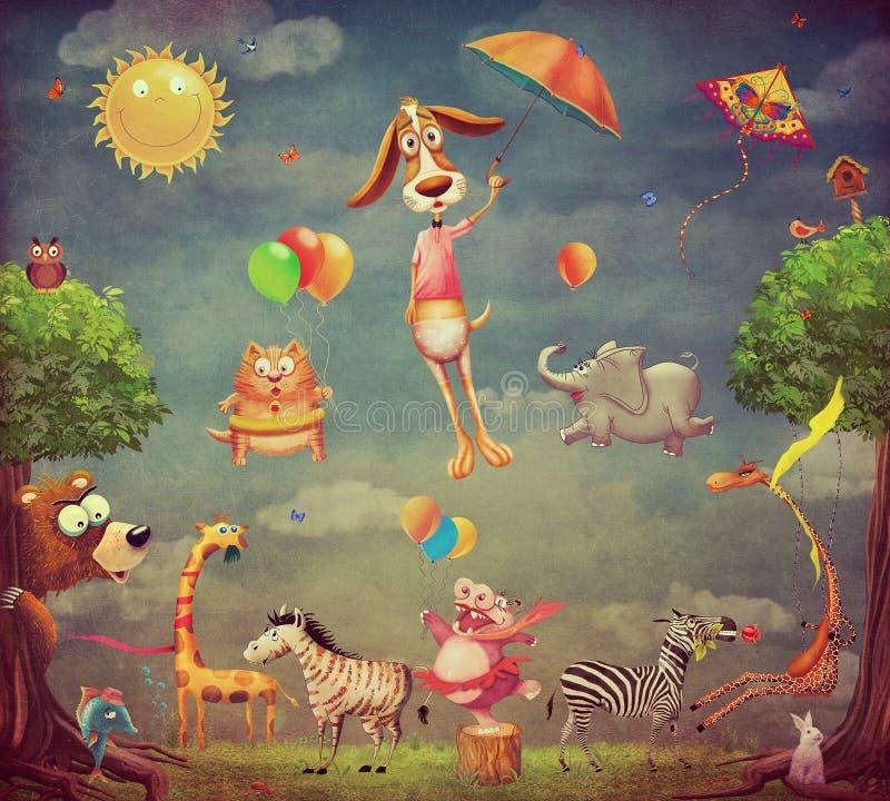 Illustration av djuren på skogen vektor illustrationer