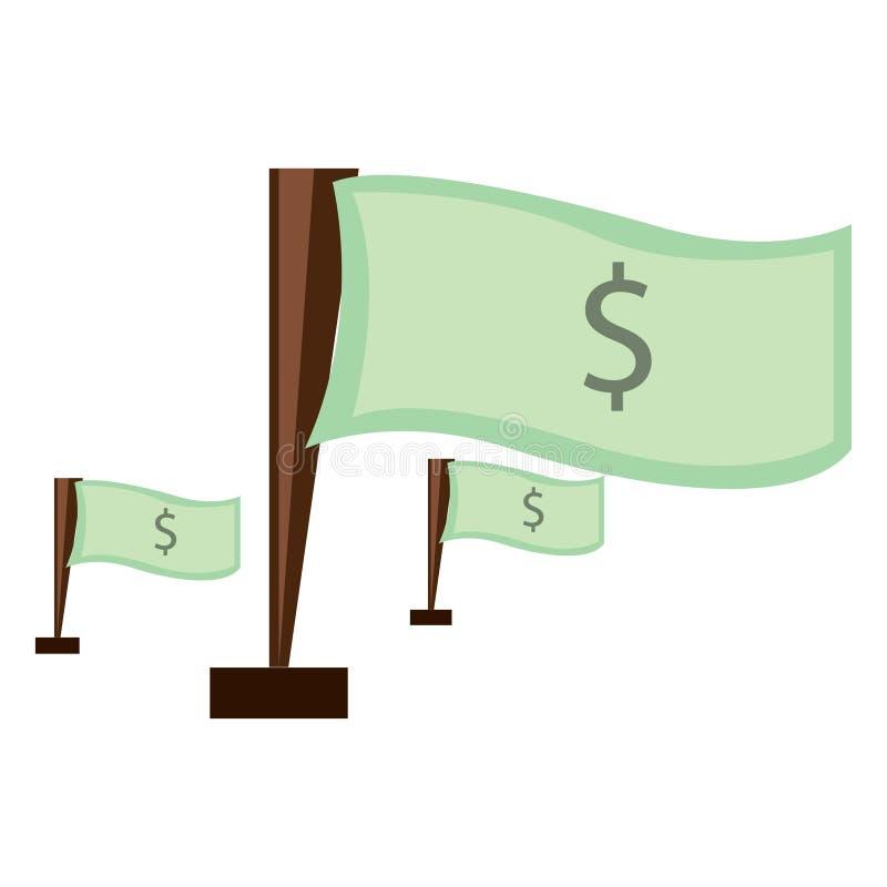 Illustration av dollarflaggapacken vektor illustrationer