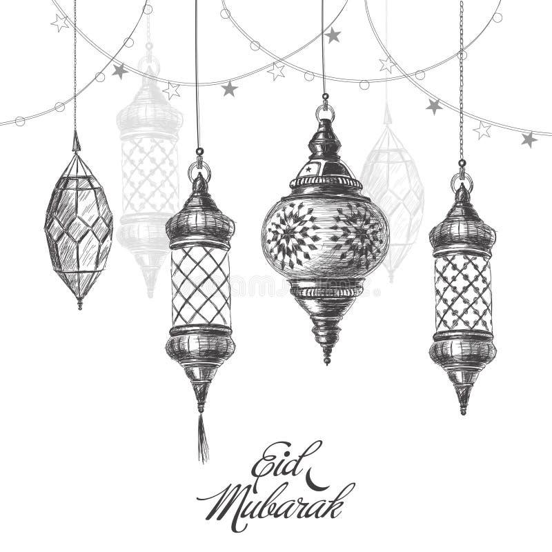 Illustration av Eid mubarak Härlig islamisk och arabisk lykta stock illustrationer
