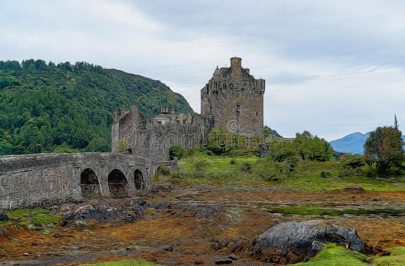 Illustration av Eilean Donan Castle - Skotska högländerna, Skottland, UK royaltyfri foto