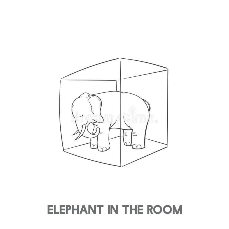 Illustration av elefanten i rumidiomet royaltyfri illustrationer