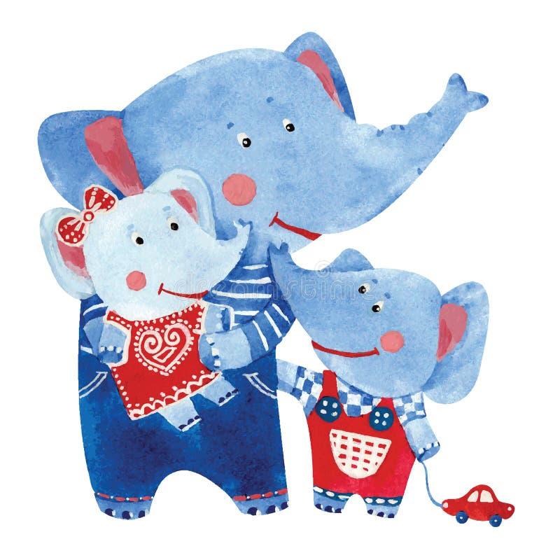 Illustration av elefantfamiljen vektor illustrationer