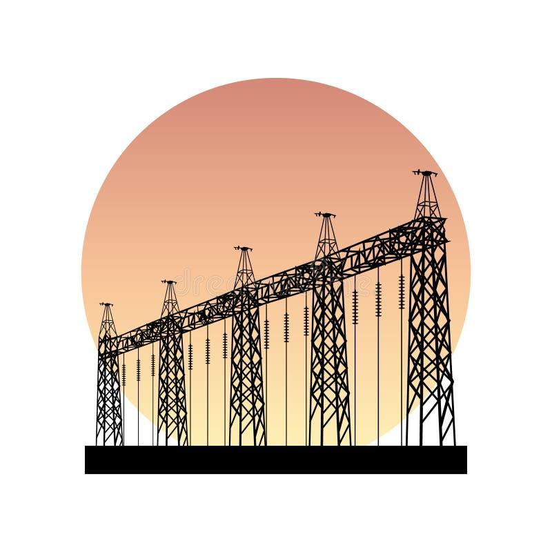 Illustration av elektricitet, vektor för konturmaktsymbol royaltyfri illustrationer