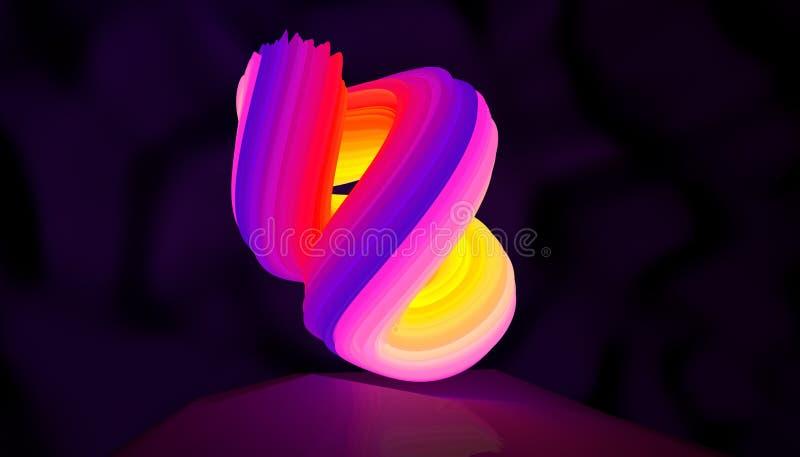 Illustration av en abstrakt rotation för logoneonform illustration 3d vektor illustrationer