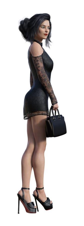 Illustration av en affärskvinna som bär en kort svart klänning och rymmer ett litet fall isolerat på en vit bakgrund royaltyfri illustrationer