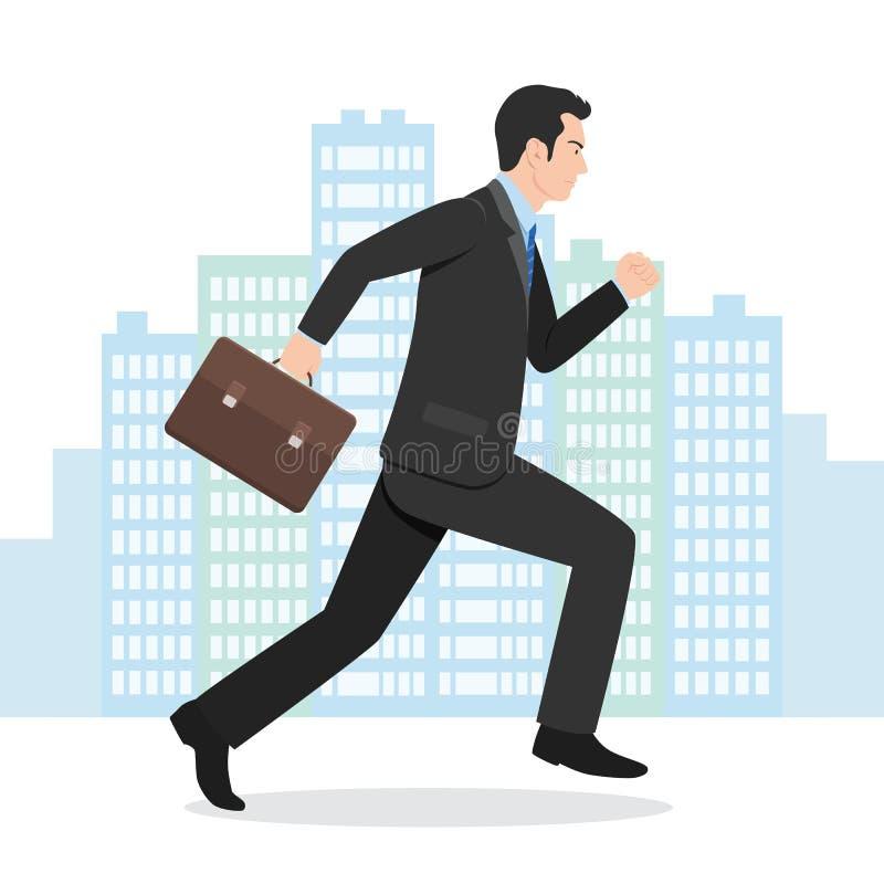Illustration av en affärsman Running med hans portfölj vektor illustrationer