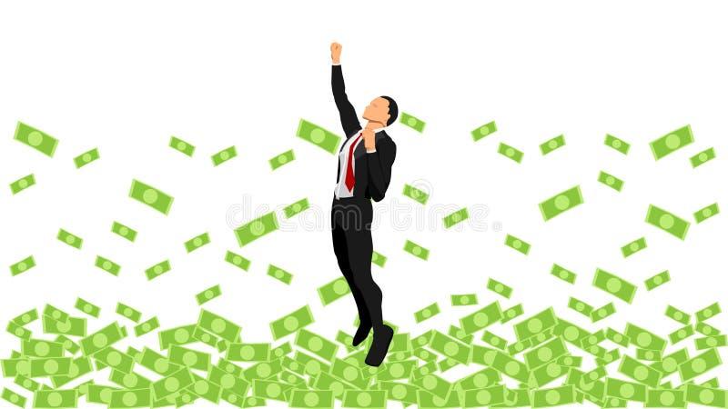 Illustration av en affärsman som erfar en vinst som flyttar sig uppåt hoppa upp affärsflugan stock illustrationer