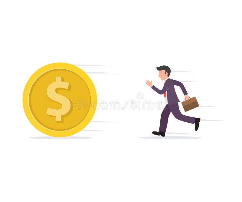 illustration av en affärsman som kör eller jagar ett mynt royaltyfri illustrationer