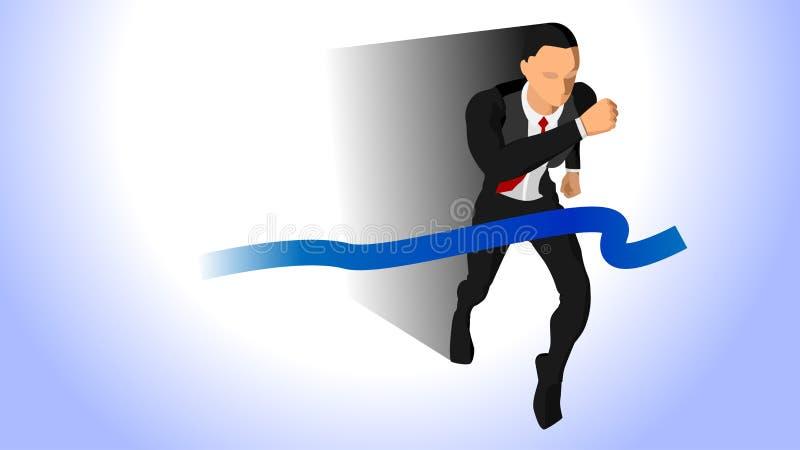 Illustration av en affärsman som kör förbi mållinjen 10 eps royaltyfri illustrationer